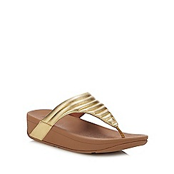 1305ab29c60b FitFlop - Gold  Lottie Padded  Wedge Heel Sandals