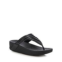 FitFlop - Black Padded 'Lottie' Wedge Heel Sandals