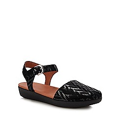 FitFlop - Black Leather 'Cova II' Ankle Strap Sandals