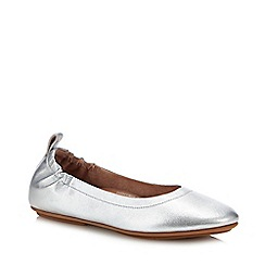 FitFlop - Silver Leather 'Allegro' Ballet Pumps