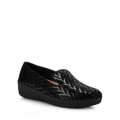 FitFlop - Black Leather 'Audrey' Slip-On Shoes