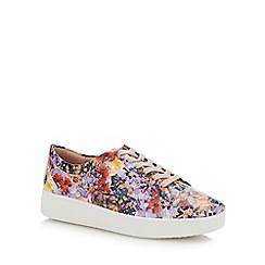 FitFlop - Pink Leather 'Rally - Flower Crush' Trainers
