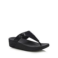 FitFlop - Black Leather Chevron 'Lottie' Wedge Heel Sandals