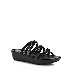 FitFlop - Black 'Linny' Crystal Wedge Sandals