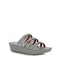 FitFlop - Silver 'Linny' Crystal Wedge Sandals