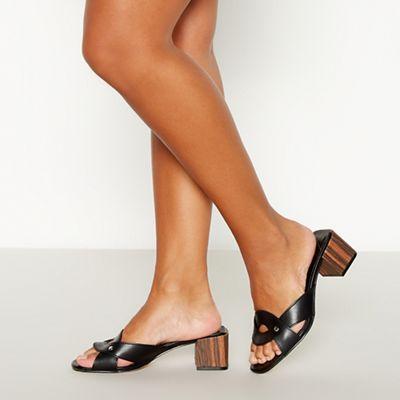 Faith - black suede bubble high block heel chelsea boots