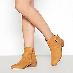 Faith - Tan Suedette 'Bieber' Low Block Heel Ankle Boots