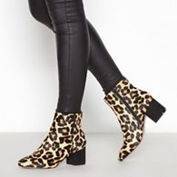 844423cd520b ... faux suede ballet slippers · £6.00. Add to bag. Faith - Multicoloured  Leopard Calf Hair  Bepard  Block Heel Ankle Boots