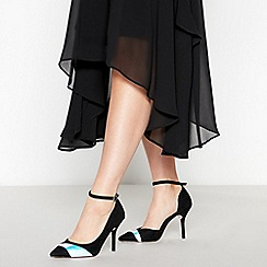 Faith - Black Metallic Stripe 'Chelle' Stiletto Heel Court Shoes