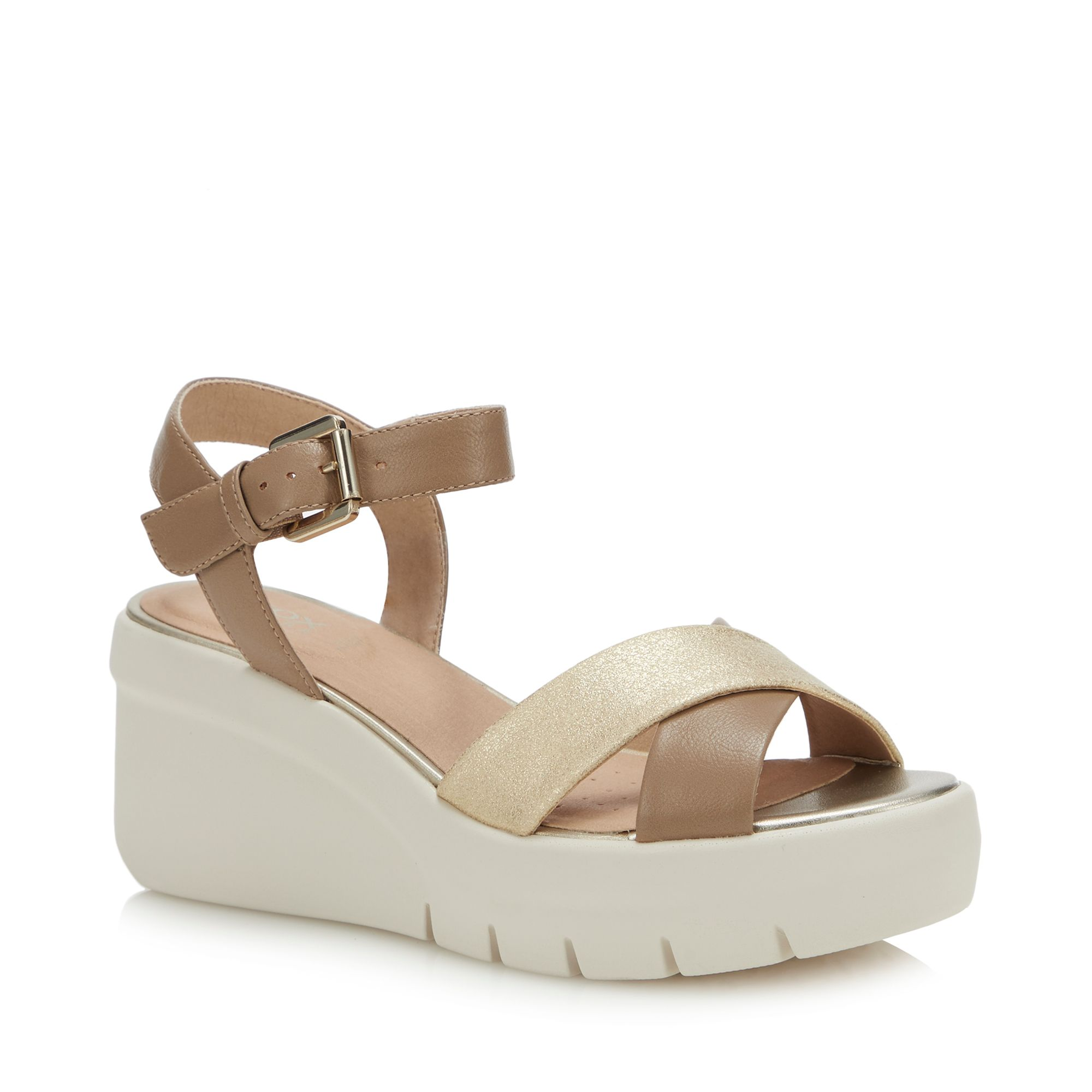 842b09fff4 Details about Geox Womens Nude 'Torrence' Wedge Heel Sandals