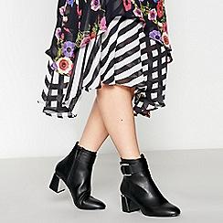 Faith - Black 'Buns' Block Heel Ankle Boots