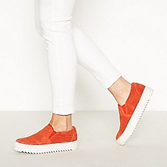 J by Jasper Conran - Orange Suede 'Jog' Slip On Leather Trainers