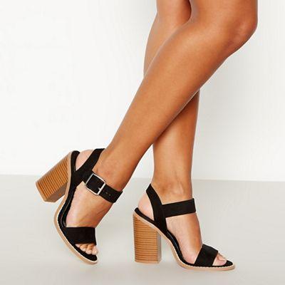 068010447560: Black Suedette Drama Block Heel Sandals