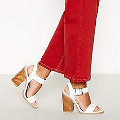 Faith - White Faux Leather 'Drama' Block Heel Sandals