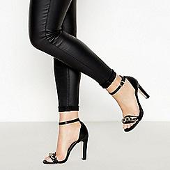 Faith - Black Chain Trim 'Lenna' High Stiletto Heel Sandals