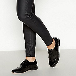 Faith - Black Patent 'Albie' Lace Up Brogues