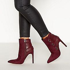 Faith - Wine Red Suedette 'Bee' High Block Heel Pointed Toe Ankle Boots