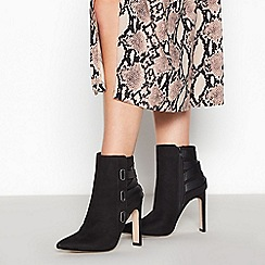 Faith - Black Suedette 'Bee' High Block Heel Pointed Toe Ankle Boots