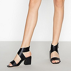 Faith - Black Crossover Straps 'Doughnut' Block Heel Sandals