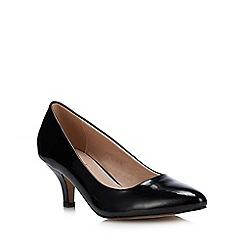 Lotus - Black 'Bess' Patent Mid Heel Court Shoes