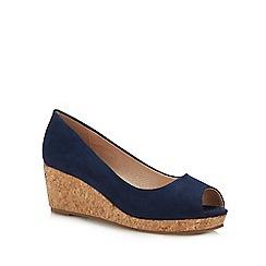 Lotus - Navy Suedette 'Odina' Mid Wedge Heel Peep Toe Shoes
