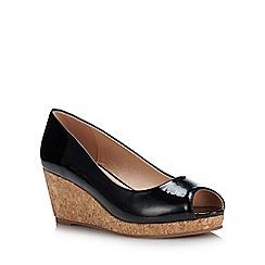 Lotus - Black Patent 'Odina' Mid Wedge Heel Peep Toe Shoes