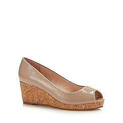 Lotus - Natural Patent 'Odina' Mid Wedge Heel Peep Toe Shoes