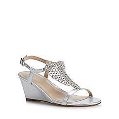 Lotus - Silver Metallic 'Kassidy' Mid Wedge Heel Sandals