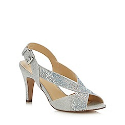 Lotus - Silver Diamante 'Anya' High Stiletto Heel Peep Toe Shoes