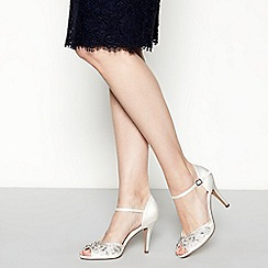No. 1 Jenny Packham - Ivory satin 'Paris' high stiletto heel ankle strap sandals