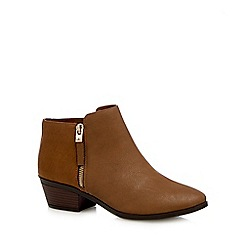 Call It Spring - Tan 'Gunson' mid block heel ankle boots