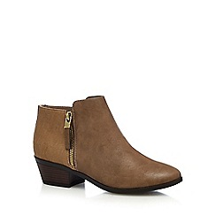 Call It Spring - Taupe 'Gunson' mid block heel ankle boots