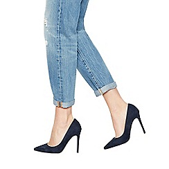 Faith - Navy suedette 'Chloe' high heel wide fit pointed shoes