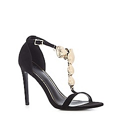 Faith - Black suedette 'FiFi' high stiletto heel T-bar sandals