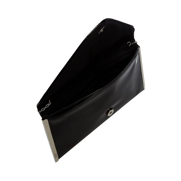 Faith bag patent Black envelope clutch 'Promise' T7H6xCBwq