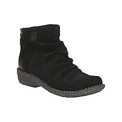 Clarks - Black suede 'Avington Swan' mid block heel ankle boots