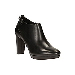 Clarks - Black leather 'Kendra Spice' high block heel ankle boots
