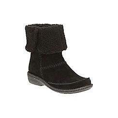 Clarks - Black suede 'Avington Grace' mid block heel ankle boots