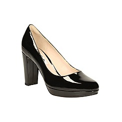 Clarks - Black patent leather 'Kendra Sienna' high block heel court shoes