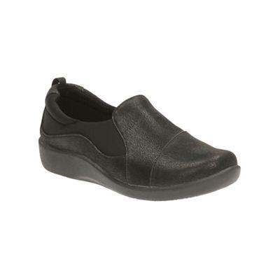 12c7ad423a3 Clarks Black  Sillian Paz  mid wedge heel slip on shoes