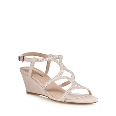Call It Spring - mid Light pink suedette 'Corpe' mid - wedge heel ankle strap sandals db8ec6