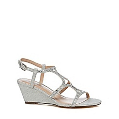 Call It Spring - Silver 'Corpe' low wedge heel ankle strap sandals