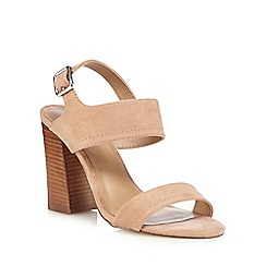 Call It Spring - Light brown suedette 'Peawia' high block heel ankle strap sandals