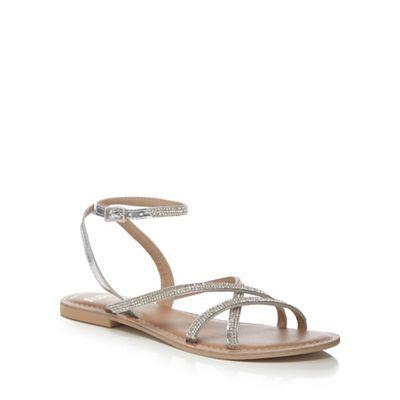 Faith Silver Diamante Jambo Ankle Strap Sandals Debenhams