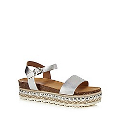 Faith - Silver leather 'Joss' mid platform ankle strap sandals