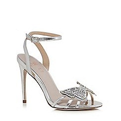Faith - Silver leather 'Filly' high stiletto heel ankle strap sandals