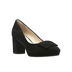 Clarks - Black suede high block heel court shoes