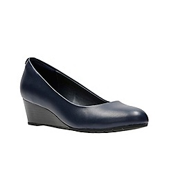 Clarks - Navy Leather' VENDRA BLOOM' Low Heeled Shoes