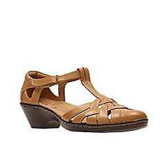Clarks - Tan leather ' wendy loras ' t bar sandals