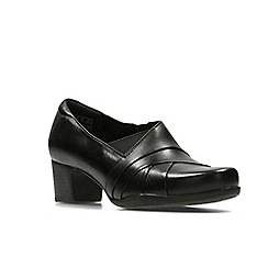 Clarks - Black leather ' rosalyn adele ' slip on